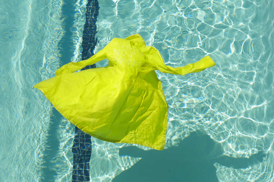 """Yellow Coat in Pool (Light box series), digital pigment print on back-lit transparency and LED lightbox, 12 x 24"""", 2011"""