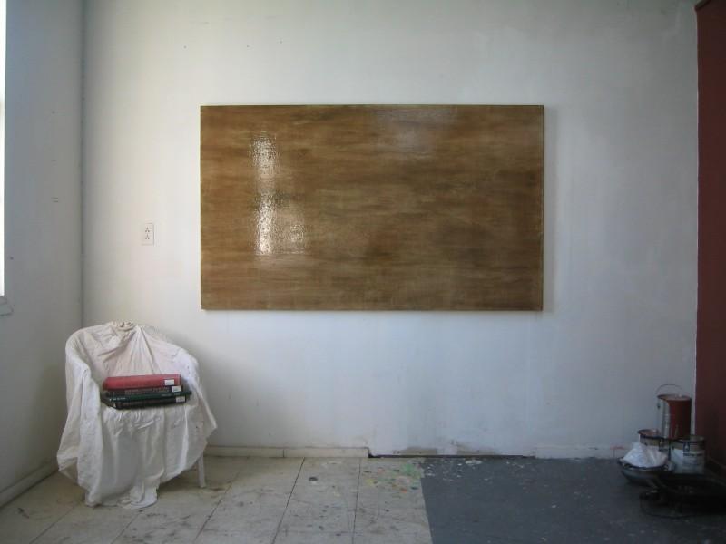 Flemish Painting, Richmond UC Berkeley Studio, 8 layers flemish gesso, verdigris pigment (honey, rock salt, urine, copper), black walnut varnish etc on oak panel, 7 x 4', 2004